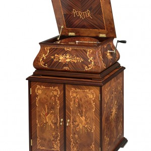 Baroque Music Box shown with storage cabinet