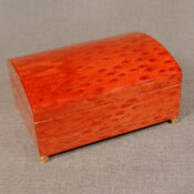 Tulip burl wood, large chest, musical jewelry box with felt interior, jewelry compartment and ring holder.  Measures 8 x 6 x 4