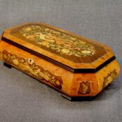Mahogany box with musical motif inlay